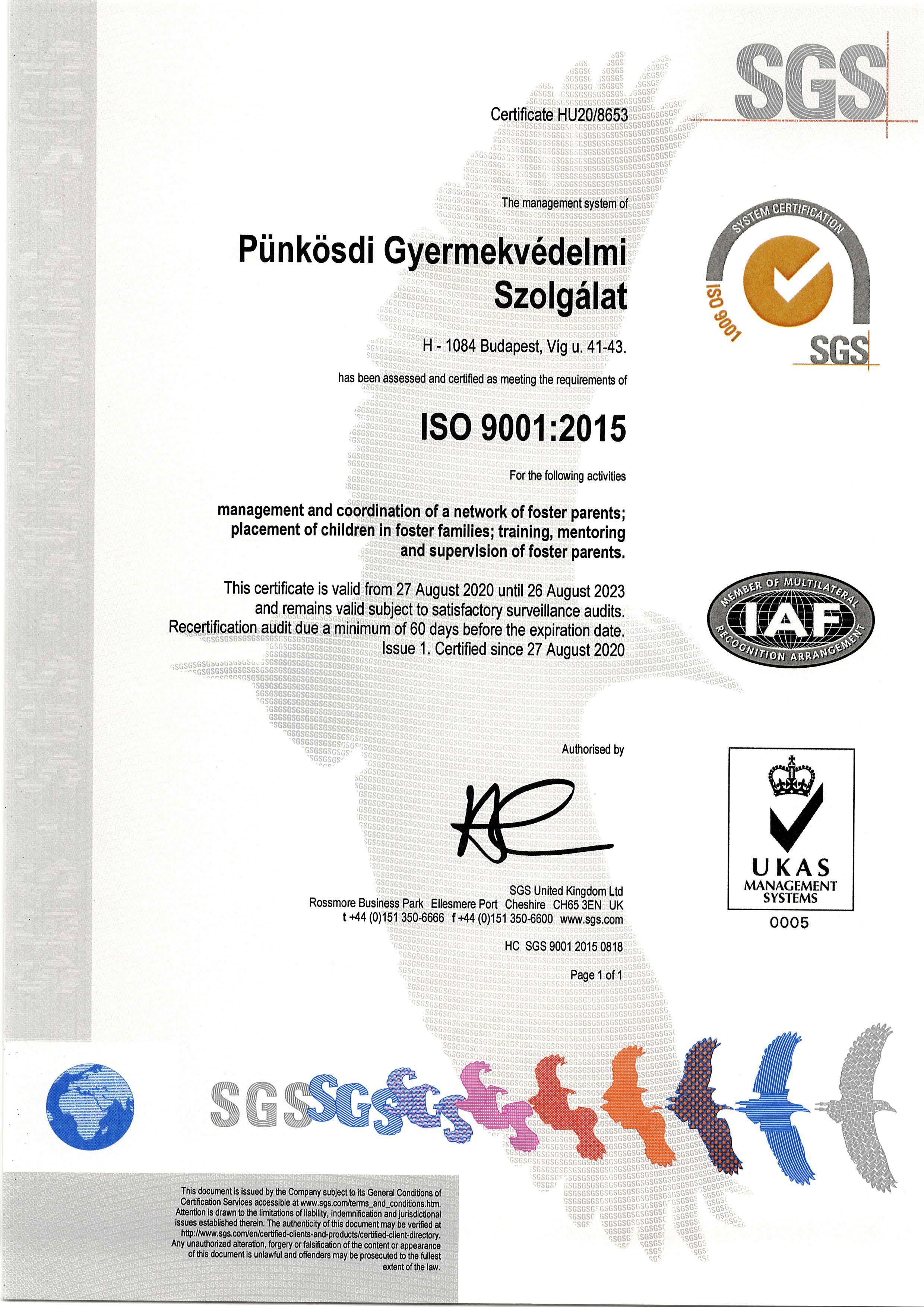 ISO 9001 minősítés